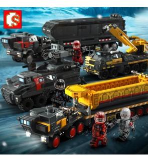 Sembo Block The Wandering Earth No.107001 107002 107003 107004 (4 in 1) Set Model Tank Truck Bricks