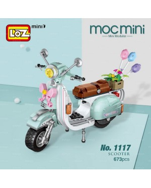LOZ 1117 MINI Vehicle Nano Diamond Creative Brick Scooter Cute Turquoise Blue Motor Vehicle Electric Bicycle Block 673pcs