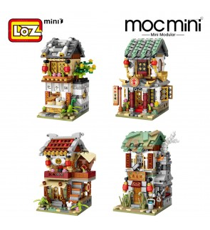 LOZ IDEAS Mini Block Street 1722 / 1723 / 1724 / 1725 China Ancient Street Building Brick Shop Store
