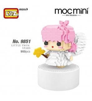 LOZ 9851 MINI Music Box Nano Diamond Creative Brick Little Twin Stars Block Pink Cute Musical Box 950pcs