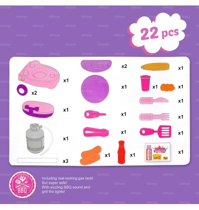 BBQ Set Toys Pretend Play Cooking Kitchen Light & Music Play Set 22pcs Pink toys for girls
