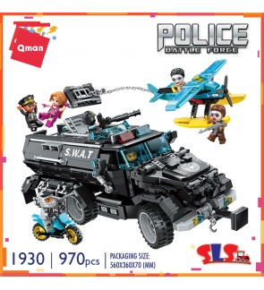 Qman Enlighten No. 1930 Police Battle Force Antiriot armored car 970pcs Brick Set