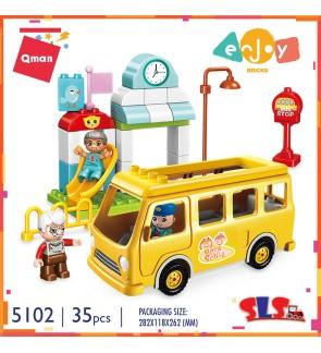 "Qman Enjoy Bricks 5102 ""Toot"" ""Toot"" School Bus Duplo Size Building Block 35pcs"