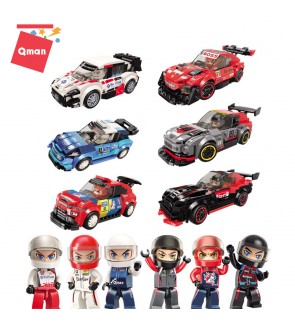 Qman MineCity 4201 6 in 1 Race Car Model Racing Rally Track Sport Cars Model Collection Set Building Blocks 1119pcs