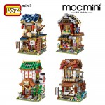 LOZ 1733/1734/1735/1736 MINI Chinatown Nano Diamond Creative Brick Shop Building Block