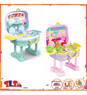 Medical Suitcase / Kitchen MobileTrolley Case SetSuitcase Writing Desk Simulation Pretend Play