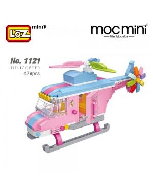 LOZ 1121 MINI Pink Helicopter Vehicle Nano Diamond Creative Brick 479pcs