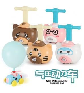 Air Pressure Balloon Powered Car Cute Animal Characters Mini Pump Push Car for Kids Children Age 6+