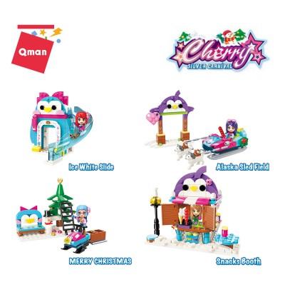 Qman 2023 Winter Theme 4 in 1 Set Cherry Silver Carnival Series Bricks Building Blocks 625pcs