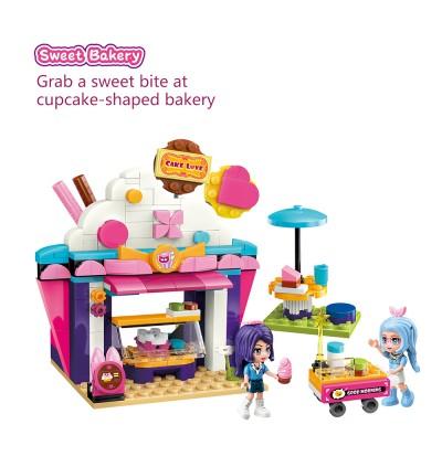 Qman 2028Sweet Bakery Cake House Cherry Mew Mew Music Festival Series Bricks Building Blocks 240pcs