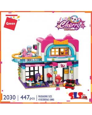 Qman 2030 Music Party Villa Cherry Mew Mew Music Festival Series Bricks Building Blocks 447pcs