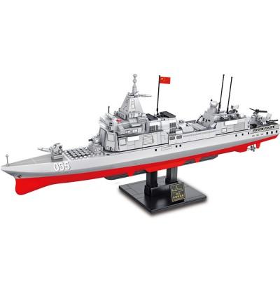 Sembo Block 105767 Jagged Heavy-055 Destroyer Battleship Ship Iron blood Heavy Equipment Series Building Bricks 864+pcs
