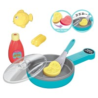 Light-Sensitive Color Changing Food Blue Pan Pretend Play Children Play House Kitchen Set