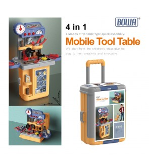 4 IN 1 BOWA Mobile Tool Table Pretend Play Suitcase Trolley Case Stall Set Service Depot 8022P