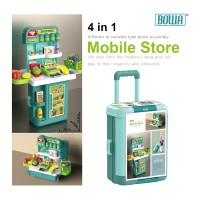 4 Mode BOWA Mobile Store Table Pretend Play Suitcase Trolley Case Stall Set Fruit Vegetables Supermarket Grocery Cashier