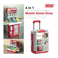 4 Mode BOWA Mobile Sweet Shop Table Pretend Play Suitcase Trolley Case Stall Set Ice Cream Dessert Bakery Confectionery Cafe Cashier 8780P