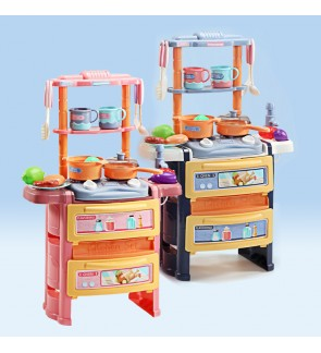 56cm Dream Kitchen Set Double Deck Mini Stove Cyclic Water Children Pretend Play Sound & Light