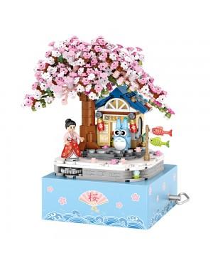 LOZ 1221Sakura Japanese Theme Tree Music Box Building Bricks 806pcs