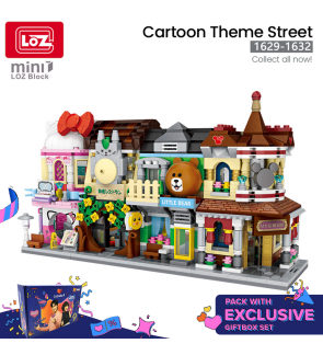 [GIFT SET] LOZ MINI Commercial Street View 1629 1630 1631 1632 Make Up Little Bear Totoro Restaurant Shopping Gallery Building Block Nano Diamond Creative Brick 4 in 1