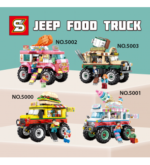 SY Sheng Yuan 5000 / 5001 / 5002 / 5003 Jeep Food Truck Stall Hamburger Ice Cream Fried Chicken Coffee Building Block