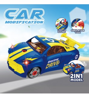[Light & Sound] Play at Home 2 IN 1 Racing Car Modification Model Assembly and Disassembly with Drill Simulation Tool