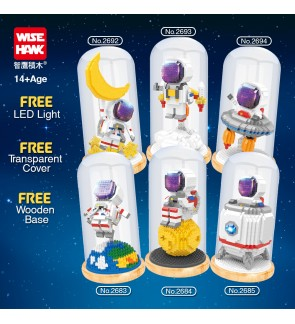 [Free LED & Cover] Wise Hawk Block 2683 / 2684 / 2685 / 2692 / 2693 / 2694 Spaceman Series Astronaut Rocket Moon Earth Space Building Brick