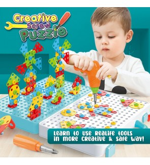 STEM Creative Screw Puzzle Series Education Intellectual Educational Toys 2D and 3D Brain Teaser Tool Box Toy
