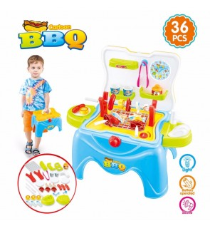 Battery Operated Girls Toys Pretend Play Cartoon BBQ Play Set w/ Light & Sound