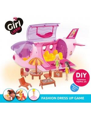 Fashion Airplane Beauty Doll Dress Up Girls Pretend Play Set