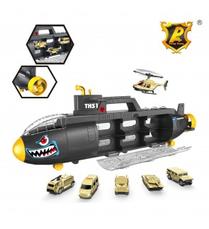 Peng Rong Shark Submarine Garage Suitcase Vehicle Combo Set