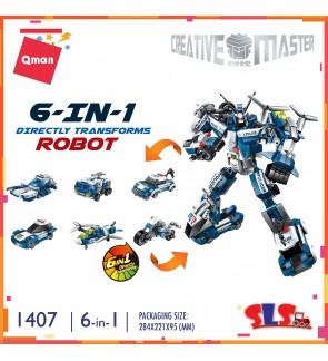 Qman Enlighten 1407 Creative Master 6-in-1 Police Robot Direct Transform Set Building Block