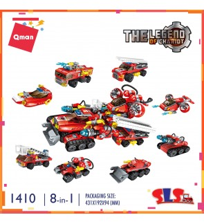 Qman Enlighten 1410 The Legend of Chariot 8-in-1 Machine Fire Fighter Set Building Block