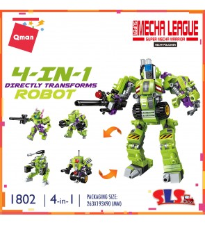 Qman Enlighten No.1802 Super Mecha League 4-in-1 Direct Transform Robot Set