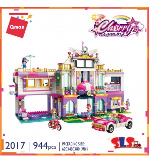 Qman Enlighten 2017 Cherry Holiday Villa Block Girl 944pcs