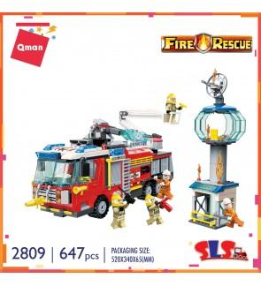 Qman Enlighten No.2809 Fire Rescue 647pcs Fire Fighter Set