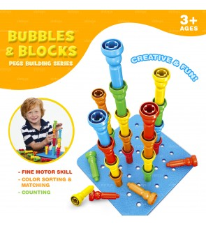 Bubbles & Blocks Pegs Building Series Stacking Puzzle Kids Toddler Creative