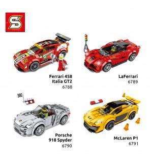 SY Sheng Yuan Race Car Model 4-in-1 Set Bricks 6788-6791 Ferrari Porsche McLaren
