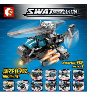 Sembo Block S.W.A.T 102001-102010 (10-in-1) Set Police Vehicle MINI Car Ship Helicopter for boys