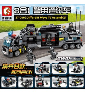Sembo S.W.A.T 102151-102158 8-in-1 Set Multi-Transform Police Vehicle Bricks