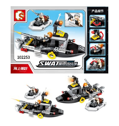 Sembo Block S.W.A.T 102251-102254 4-in-1 Set Police Vehicle Ship Helicopter Airplane